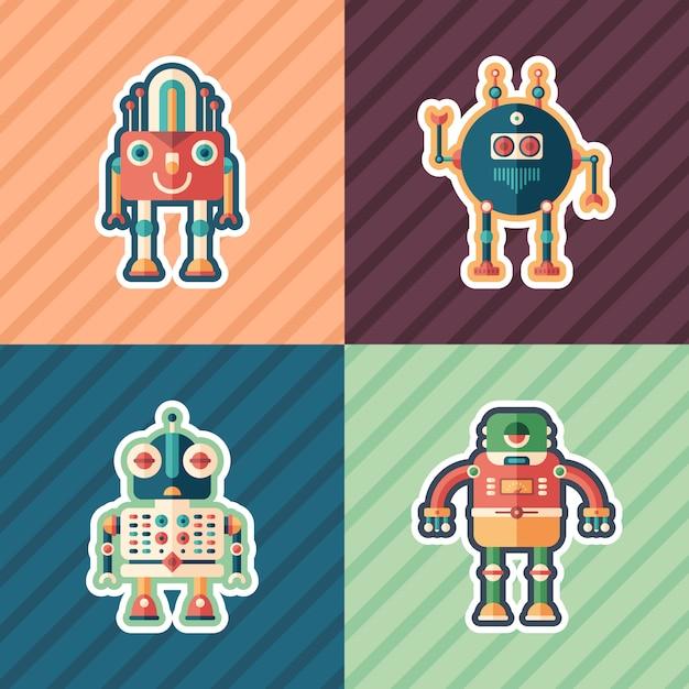 Set di adesivi per robot scientifici. Vettore Premium