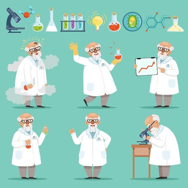 Scienziato o chimico al lavoro. diversi accessori nel laboratorio di scienze. divertente scienziato chimico esperimento e illustrazione di ricerca Vettore Premium