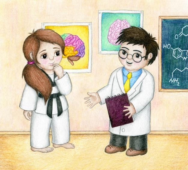 Lo scienziato sta spiegando alla ragazza del taekwondo come praticare il taekwondo migliora il suo cervello. Vettore Premium