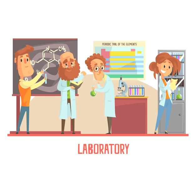 Caratteri di scienziati che conducono ricerche in un laboratorio, interno del laboratorio di scienze Vettore Premium