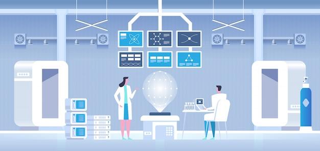 Scienziati uomo e donna che conducono ricerche in un laboratorio Vettore Premium