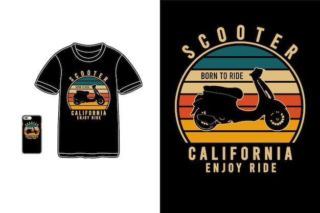 Scooter california goditi la silhouette di merchandise di t-shirt Vettore Premium