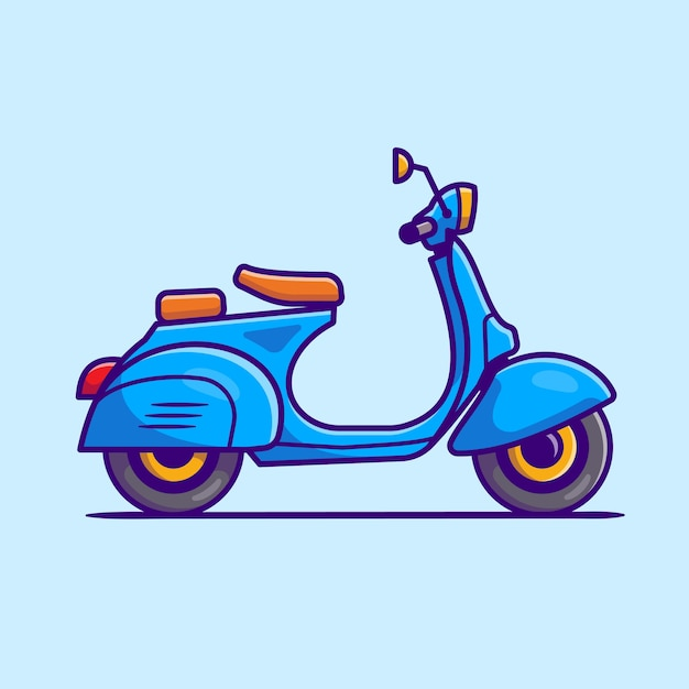 Scooter icona del fumetto illustrazione. concetto dell'icona del veicolo del motociclo isolato. stile cartone animato piatto Vettore Premium