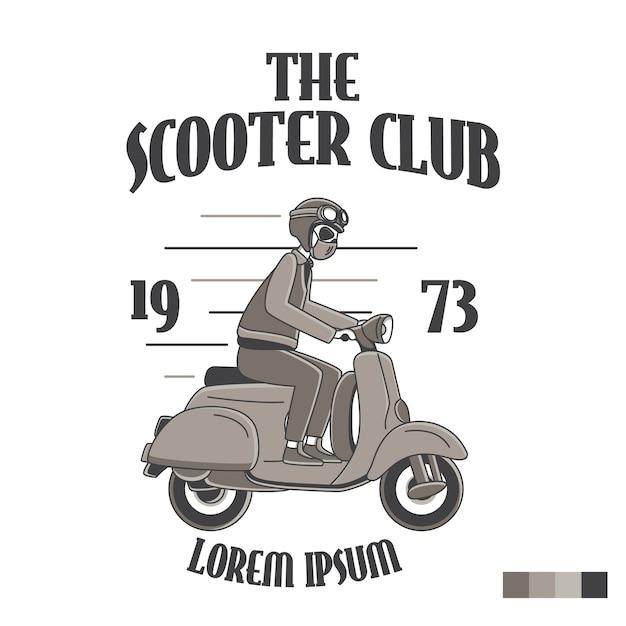 Il logo del trasporto dell'emblema del distintivo del club dello scooter Vettore Premium