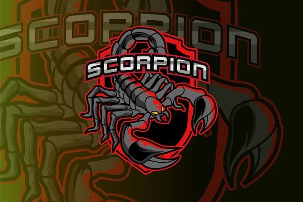 Logo dello scorpione per club sportivo o squadra. logotipo mascotte animale. Vettore Premium