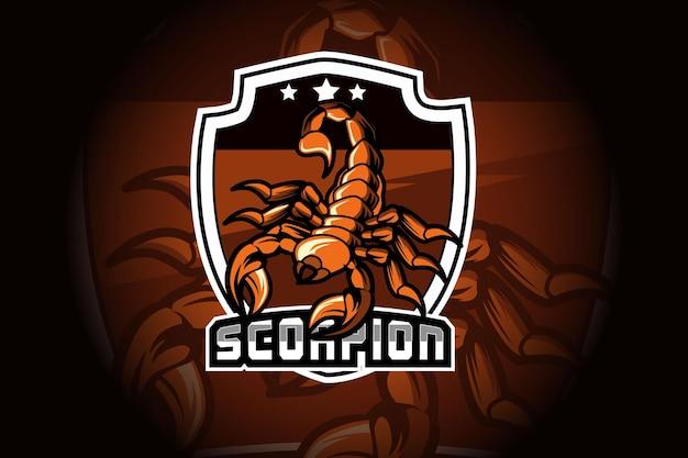 Mascotte dello scorpione per lo sport e il logo dello sport isolato su sfondo scuro Vettore Premium