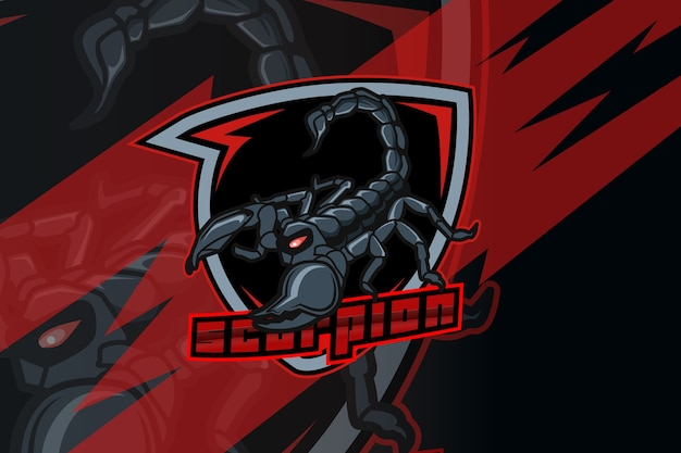 Scorpione per logo sportivo ed esports isolato su sfondo scuro Vettore Premium