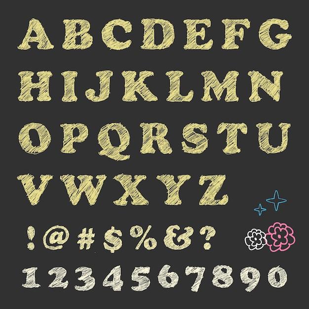 Scratching lettere numeri notazione e motivo floreale sulla lavagna. Vettore Premium