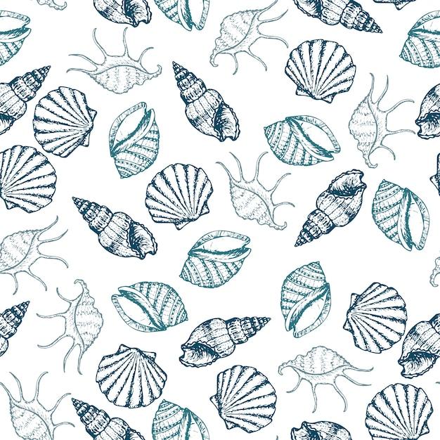 Modello senza cuciture disegnato a mano delle conchiglie degli animali marini, delle stelle marine e del gallo. Vettore Premium