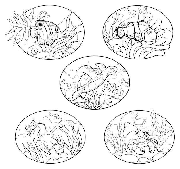 Animali marini Vettore Premium