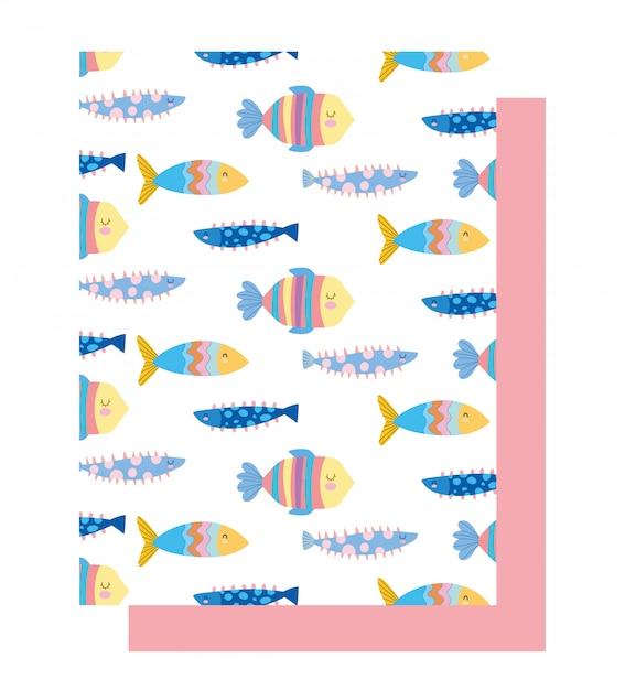 Sotto il mare, pesci colorati cartoon ampio sfondo paesaggio marino vita Vettore Premium