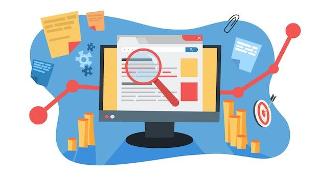 Concetto di mare. idea di pubblicità sui motori di ricerca per il sito web come strategia di marketing. promozione di pagine web in internet e seo. illustrazione Vettore Premium