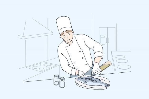 Mare, cucina, cucina, concetto di pesce Vettore Premium