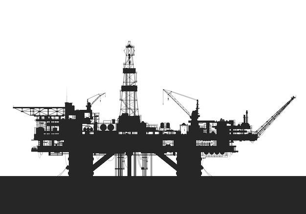 Piattaforma petrolifera del mare. sagoma di piattaforma di perforazione petrolifera. Vettore Premium