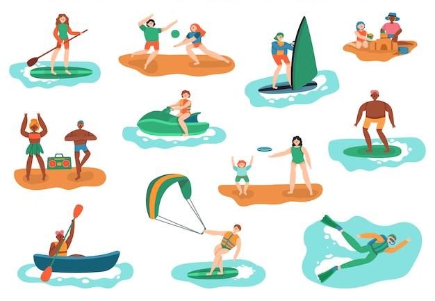Attività all'aperto in mare. sport acquatici e da spiaggia, immersioni subacquee, surf e palla da gioco, insieme dell'illustrazione di ricreazione di vacanza della gente. attività sport oceano, tempo libero mare attivo e nuoto Vettore Premium
