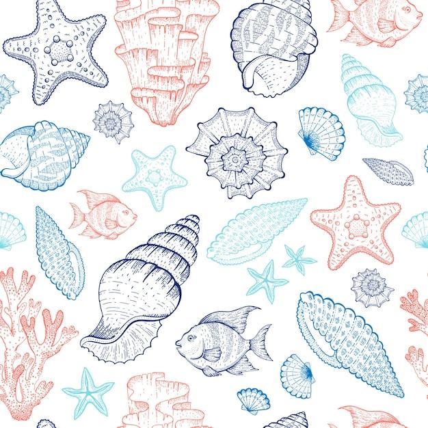 Modello mare con conchiglia, barriera corallina, stelle marine, alghe. illustrazione dell'oceano senza soluzione di continuità. stile vintage marino. Vettore Premium