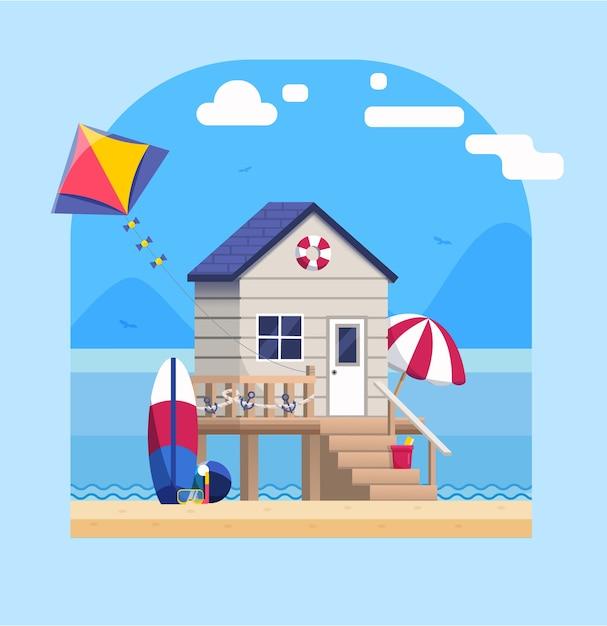 Paesaggio lato mare con bungalow sulla spiaggia in stile piatto Vettore Premium