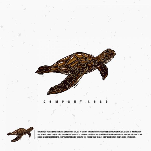 Modello di logo di illustrazione di tartaruga di mare Vettore Premium