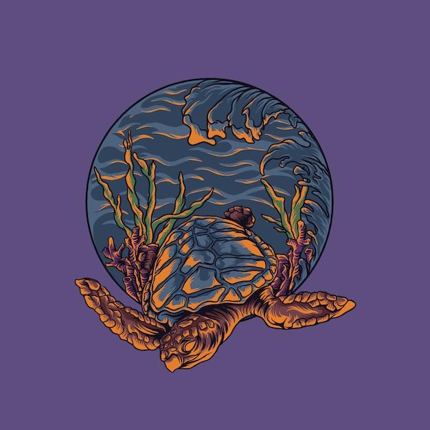 Illustrazione di tartaruga di mare Vettore Premium