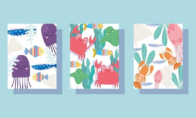 Sotto il mare, ampia vita marina paesaggio cartone animato meduse granchi aragosta bandiera banner e brochure Vettore Premium