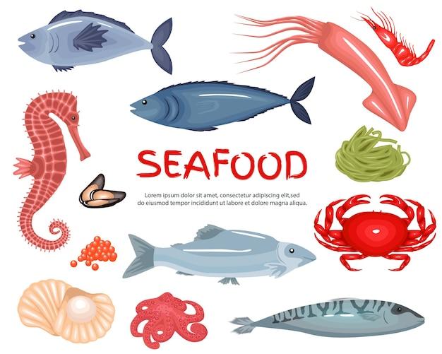 Set di sfondo grande raccolta di frutti di mare Vettore Premium