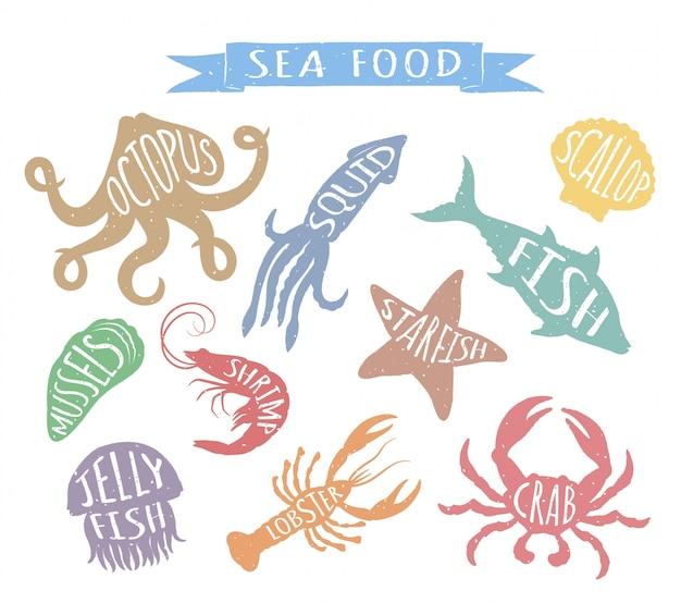 Illustrazioni disegnate a mano dei frutti di mare isolate su fondo bianco. Vettore Premium