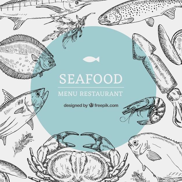Modello di menu ristorante di pesce Vettore Premium
