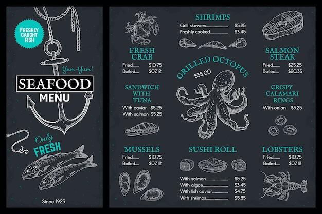 Menu di schizzo di pesce. brochure ristorante di pesce doodle, copertina vintage con salmone granchio aragosta Vettore Premium