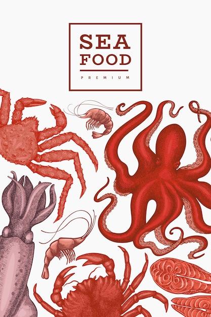Modello di frutti di mare. illustrazione di frutti di mare disegnati a mano cibo in stile inciso. sfondo di animali marini retrò Vettore Premium