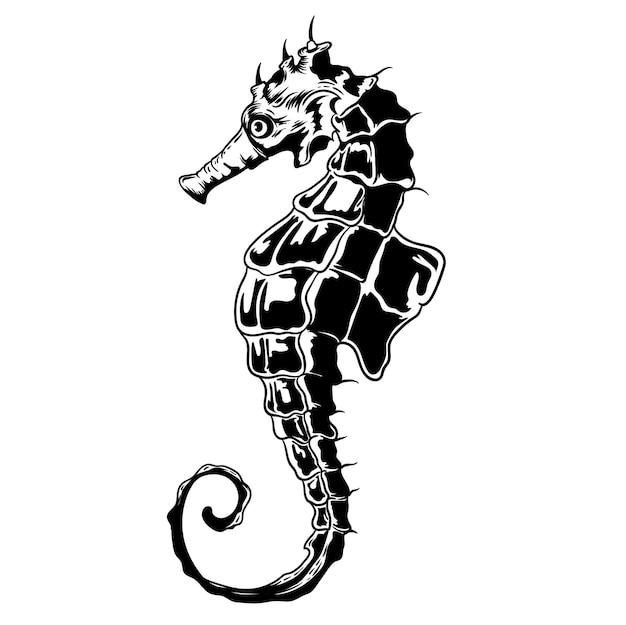 Seahorse handrawing illustrazione Vettore Premium