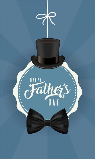 Sigillo timbro con cappello e papillon del giorno del papà Vettore Premium