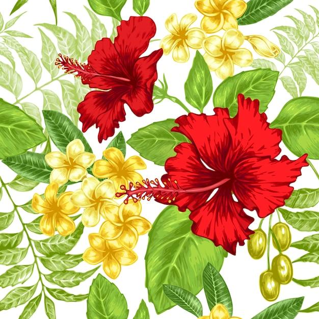 Sfondo trasparente con fiori esotici. Vettore Premium