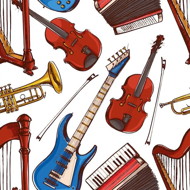 Sfondo trasparente con strumenti musicali. fisarmonica, violino, basso elettrico. illustrazione disegnata a mano. fisarmonica, violino, basso elettrico Vettore Premium