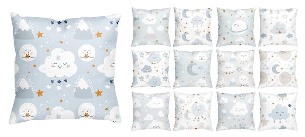 Modello senza cuciture per andare a dormire con stelle sorridenti e nuvole addormentate per la scuola materna del neonato Vettore Premium