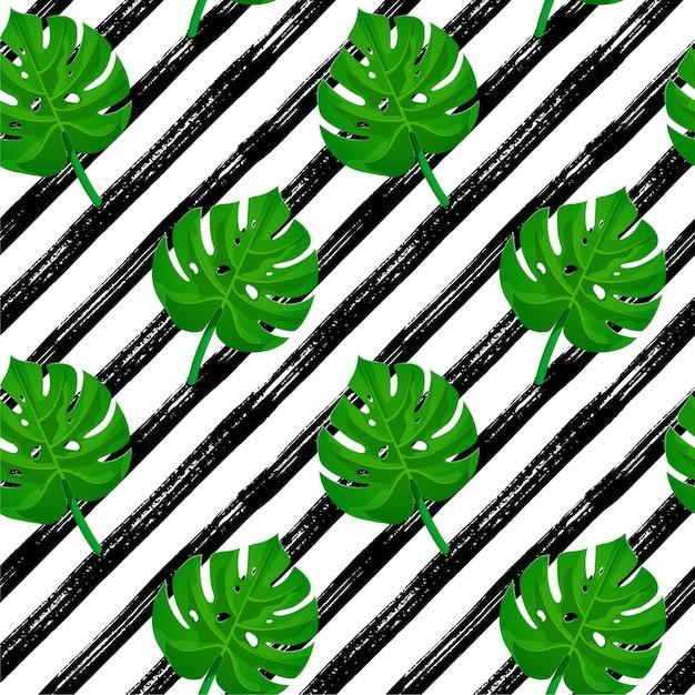 Seamless pattern tratto di pennello. strisce disegnate a mano nera con foglie di palma tropicale. Vettore Premium