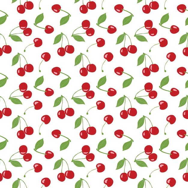 Modello di ciliegio senza soluzione di continuità, ciliegie rosse e sfondo bianco per progetti di design scrapbooking, giftwrap, tessuto e carta da parati. disegno del modello di superficie. Vettore Premium