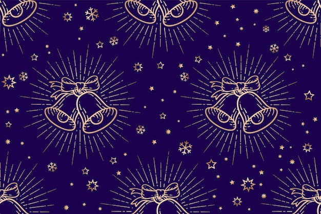 Seamless pattern di natale, golden sign jingle bells Vettore Premium