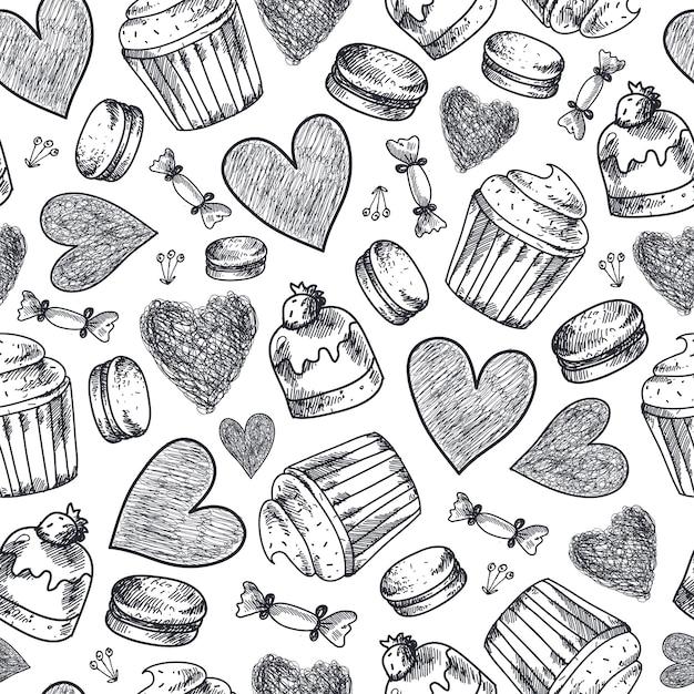Cupcakes senza soluzione di continuità, dolci, amaretti, reticolo disegnato a mano di cuori. sfondo doodle vintage in bianco e nero Vettore Premium