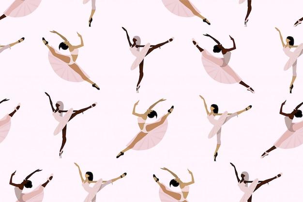Modello carino senza soluzione di continuità con ballerini afroamericani ed europei, giovani ballerine in tutu e scarpe da punta che ballano individualmente su uno sfondo bianco. Vettore Premium