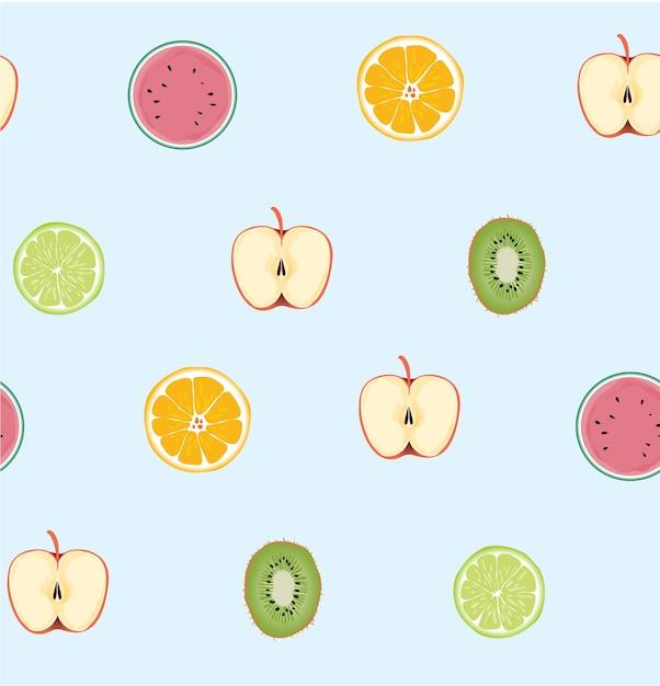 Modello di fruites fresco senza cuciture su fondo blu Vettore Premium