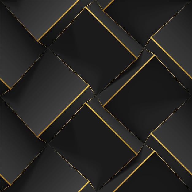 Seamless disegno geometrico con cubi realistici, linee dorate. modello con texture 3d bump Vettore Premium