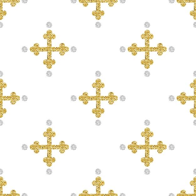 Croce senza saldatura glitter oro con sfondo argento dotazione argento Vettore Premium
