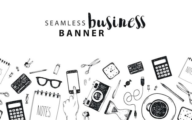 Banner orizzontale senza soluzione di continuità, affari, sfondo doodle freelance, insieme di oggetti isolati. strumenti di office, disegnati a mano, in bianco e nero Vettore Premium