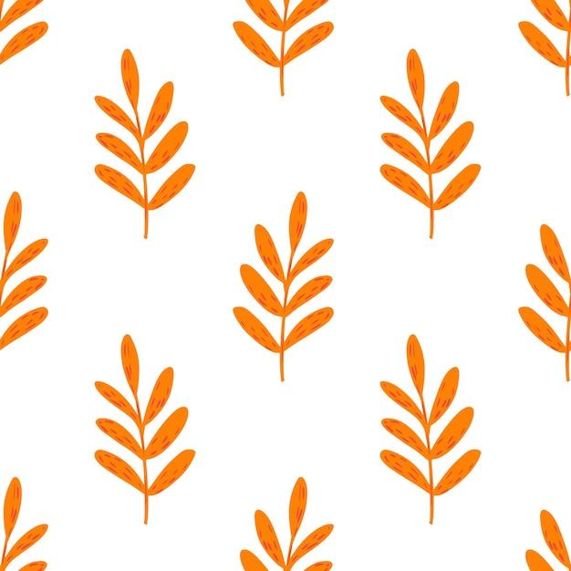 Modello isolato senza cuciture con elementi di rami arancioni luminosi. sfondo bianco. Vettore Premium