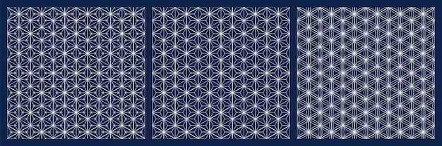 Kumiko shoji giapponese senza cuciture del modello griglia dei diamanti linee bianche su fondo blu. Vettore Premium