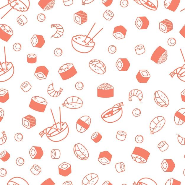 Seamless pattern di cibo japenese, sushi e panini. Vettore Premium