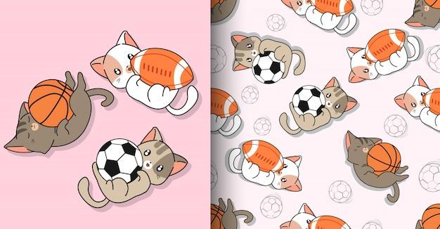 Personaggi di gatti sportivi kawaii senza soluzione di continuità e 3 palline diverse Vettore Premium
