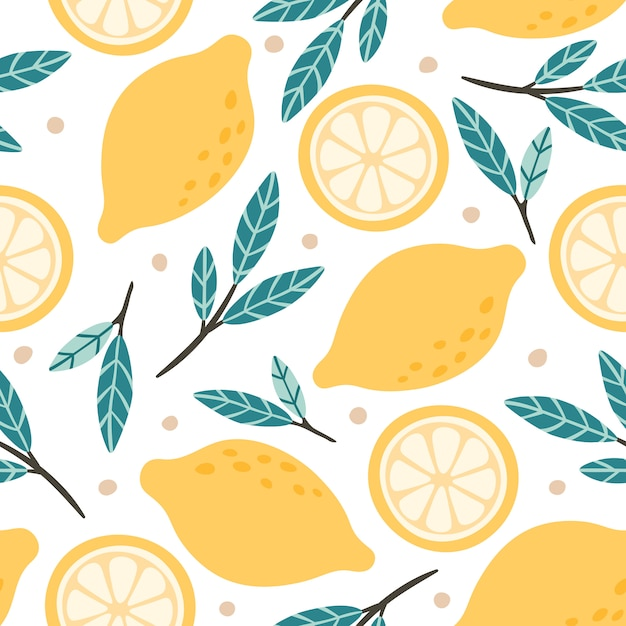 Reticolo senza giunte del limone miscela disegnata a mano dell'agrume di scarabocchio, slise dei limoni ed illustrazione del fondo delle foglie verdi Vettore Premium