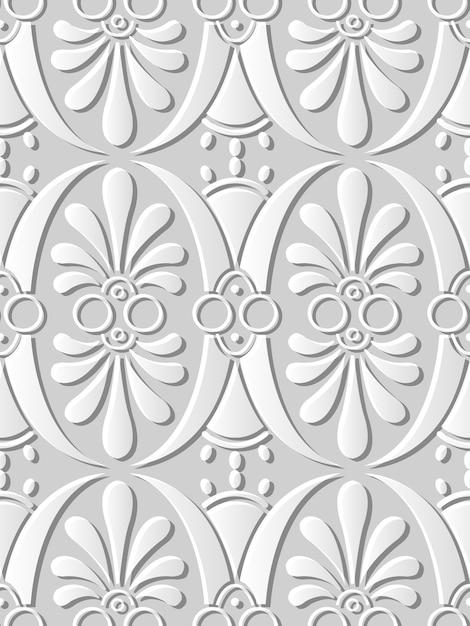 Seamless pattern 3d carta arte curva ovale rotondo foglia da giardino Vettore Premium