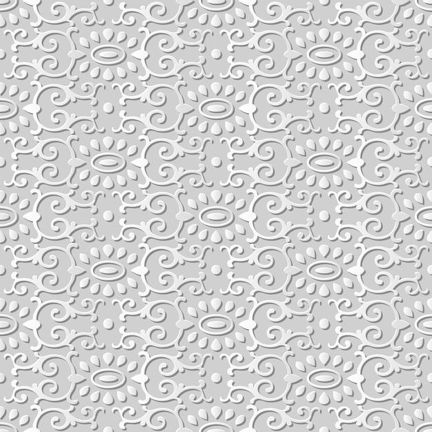 Modello senza cuciture 3d arte carta curva ovale orientale spirale croce caleidoscopio Vettore Premium